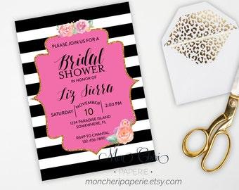 Bridal Shower Invitation with Registry Insert \ Stripe and Floral Bridal Shower \ DIY Printable Bridal Shower
