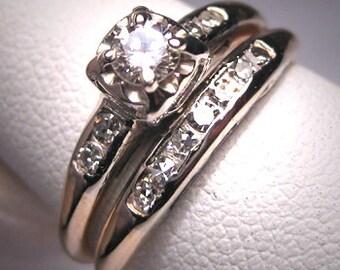 Antique Diamond Wedding Ring Set Vintage Art Deco14K