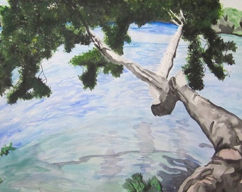 Lake View, original watercolor painting