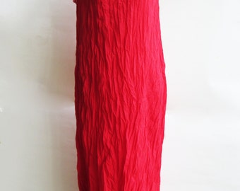 D9, Sun Two Tone Layers Sleeveless, Cotton Dress, Bright Red Dress, Maxi