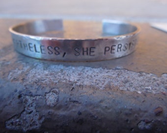 Nevertheless She Persisted sterling silver bracelet - 25 dollar donation for womens rights - Women's Rights are Human Rights.