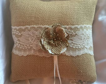 Burlap and Lace Ring Bearer Pillow Rustic Country Wedding
