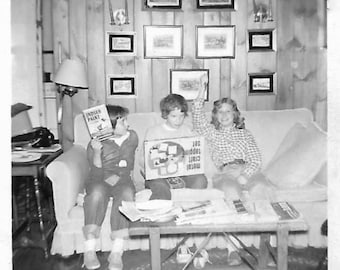 """Vintage Snapshot """"Excited About Metal Craft"""" Tomboyish Girl Absorbed In New Toy Birthday Party With Girlfriends Black & White Found Photo"""