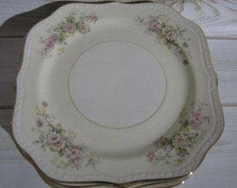 Homer Laughlin Eggshell Georgian Daisy Pastel Cream Ivory Square Luncheon Plates Gold Trim Floral ~Victorian Wedding~Vintage Porcelain China