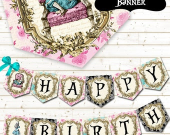 ALICE IN WONDERLAND Banner,Alice in Wonderland Printable Banner,Alice in Wonderland Garland,Alice in Wonderland Party Decoration,Alice Party