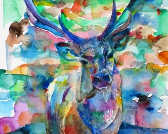 DEER - original watercolor painting - one of a kind!