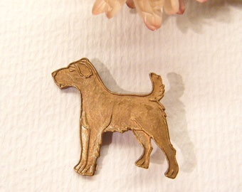 """Vintage Button, Terrier Dog, Copper Metal, 7/8"""", ANIMAL CHARITY DONATION"""