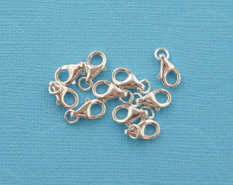 sterling silver lobster clasp 11mm - 20pcs  - pear shape clasp - sterling silver clasp - silver lobster clasp