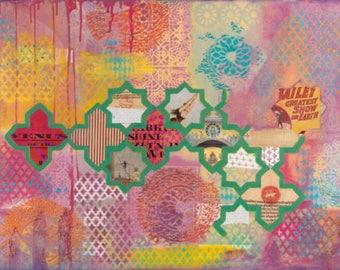 "Original painting 'Zirkus' 24x36"" Pop art Living room art Ethnic art Geometric style wall art Engagement gift Large painting Modern art"