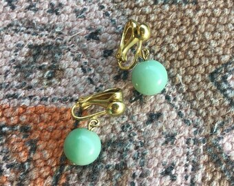 Vintage gold earrings with turquoise stone