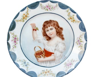 Antique French Hand Painted Porcelain Wall Plate - AH&Co Little Girl with Cherries Painting Signed Colin- French Country Cottage Wall Decor