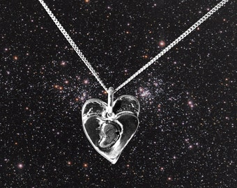 Solid Silver Heart Meteorite Necklace - With A Centre Of Real Iron Meteorite!