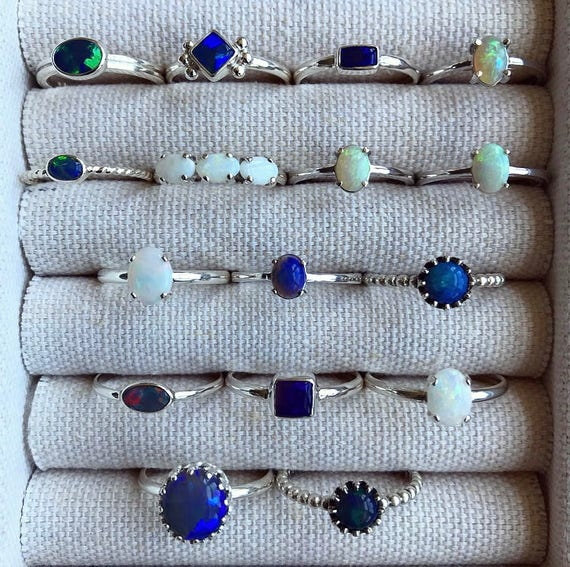 SALE: Sterling silver rings with Australian opals