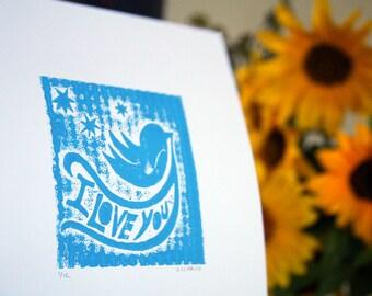 I Love You Woodland Bird Print Baby Nursery I Love You Letterpress print Mother's Day