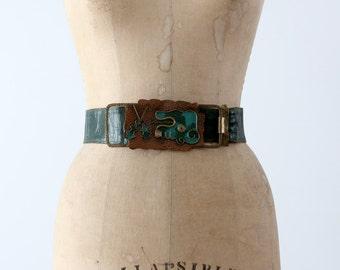 vintage fashion belt, green leather waist belt with brass art buckle