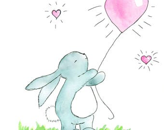 """bunny with balloon and affirmation """"I am loveable just the way I am"""""""