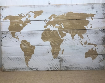 World Map Sign - Rustic Map Sign - Rustic Pallet Wall Art - Map of the World Sign - Gift for Explorer - Wooden Map Sign - varying sizes