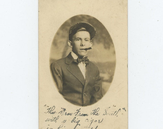 "Vintage Portrait Photo: ""That Man from the South with a big cigar in his mouth.""c 1920s [86688]"
