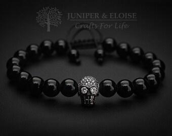 Skull Bracelet, Mens Bracelet, Zircon Skull Men's Beaded Bracelet, Skull Bracelet, Matte Black Armband, Wholesale Available