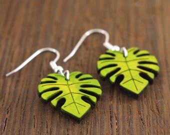 Wooden Dangle Earrings With trendy Simple Pattern, Maple Wood Earrings, wood dangle earrings, monstera leaf, monstera leaf earrings,