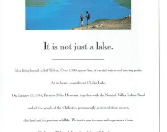 1994 Advertisement Ts'yl-os Park Chillko Lake British Columbia BC Nemiah Valley Indian Band Chilcotin Vacation Tourism Travel Wall Art Decor