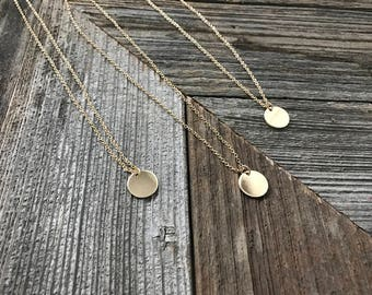 Round Gold Pendant-- Gold Disc Necklace-- Circle Pendant -- Gold Round Necklace