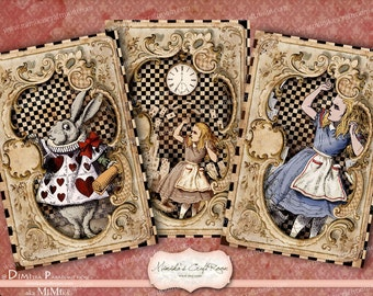 Alice in Wonderland Card. Digital Paper 4x6 inches  instant download printable images digital collage sheet background scrapbook paper cards