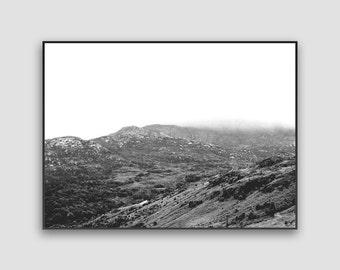 Scotland Hills Print - Digital Download, Scottish Highlands, Monochrome Nature, Landscape Photography, Black And White, Printable Wall Art