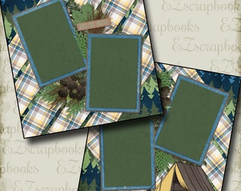 Into the Woods - CAMPING - 2 Premade Scrapbook Pages - EZ Layout 2080