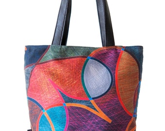 Large Tote Bag, Leather Tote, Leather Bag, Large Purse, Leather Purse, Painted Bag, Bohemian Bag, Colorful Bag, Faux Leather Tote, Art Tote
