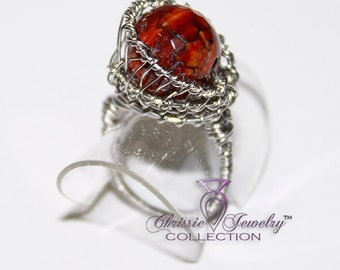 Brown Fire Agate Wire Wrapped Basket weave Ring