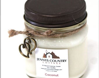 Coconut Scented Soy Candle - 8 Oz. Mason Jar