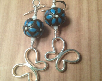 Brown and blue Golem ceramic beads with dangle butterfly earrings