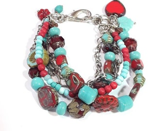 Multi strand bracelet, Turquoise and red with silver metal, Jewelry gift, Jewelry for women