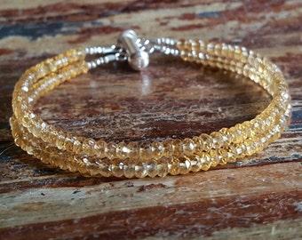 Citrine Bracelet Citrine Bracelets November Birthstone Bracelet Citrine Beaded Bracelets Multi Strand Bracelet Womens Birthday Gift for Her