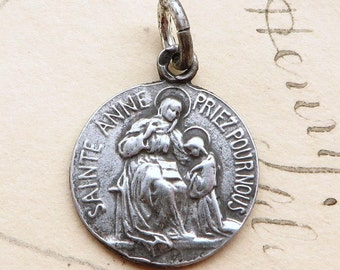 St Anne Medal - Patron of mothers and grandmothers - Antique Reproduction