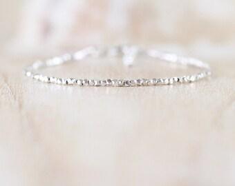 Karen Hill Tribe Fine Silver Bracelet. Sterling Silver Beaded Bracelet. Dainty Stacking Bracelet. Delicate Jewelry. Skinny Bracelet