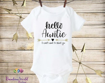 Hello Auntie Onesie®, Pregnancy Reveal to an Aunt, Pregnancy Announcement to an Aunt,Pregnancy Announcement Onesie, I Can't Wait To Meet You