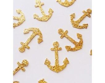 Gold anchor confetti, birthday confetti, glitter confetti, sorority Delta Gamma party decorations-