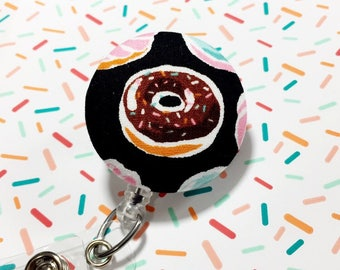 Donut Badge reel Retractable Badge Reel ID Badge Holder Name Badge Clip Badge Pull Nurse Badge Reel Retractable Badge Holder