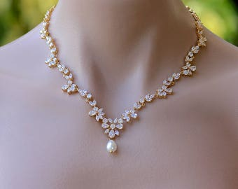 Gold Bridal Necklace, Crystal Bridal Jewelry, Wedding Necklace,  ASHLEY G