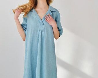 /Boho Lin Lin robe/Eco Friendly robe/Casual robe robe / bio lin Vêtements femme / robe / robe d'été en lin / Lin Midi robe