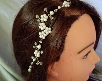 Swarovski crystal headpiece, crystal hair vine, bridal hair vine, bridal headpiece, pearl headpiece, pearl hair vine, wedding hair jewelry