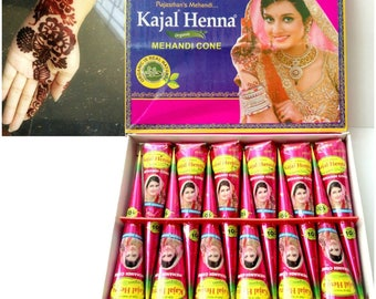Fresh Box of 12 Cones Dark Brown  Henna Mehndi Temporary Tattoo Cones  *No Chemicals 100% Natural & Safe* Herbal Henna Cones Bridal Body Art
