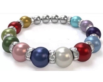Custom Mom Mother Grandma Grandmother Birthstone Pearl Bracelet