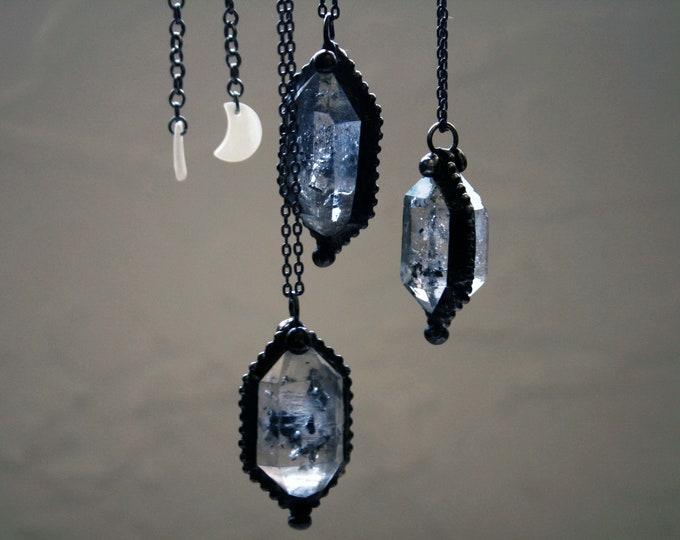 Double Terminated Tibetan Quartz Crystal Necklace // Minimal Clear or Smoky Tibetan Quartz Layering Necklace