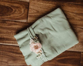 Sage and peach Garden wrap and headband set