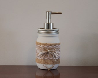FREE Shipping! Mason Ball jar soap dispenser with burlap, lace and twine tie, for kitchen and / or bathroom