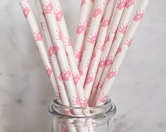 Pink and White Princess Crown Paper Straws (25)