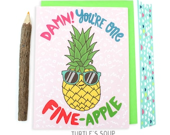 Pineapple Love Card, Tropical Fruit, Cool Card, Fineapple, Girlfriend Card, Boyfriend Card, Best Friend Card, Fruit Puns, Funny Anniversary